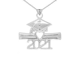 Silver Class of 2021 Graduation Diploma Necklace